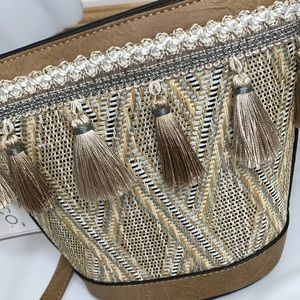 Jen&Co Tassled Structured Woven Straw bag